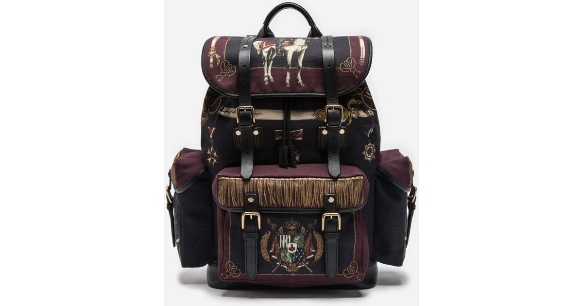 d18fa5b5e432 Lyst - Dolce   Gabbana Military Backpack In Canvas And Leather in Black for  Men