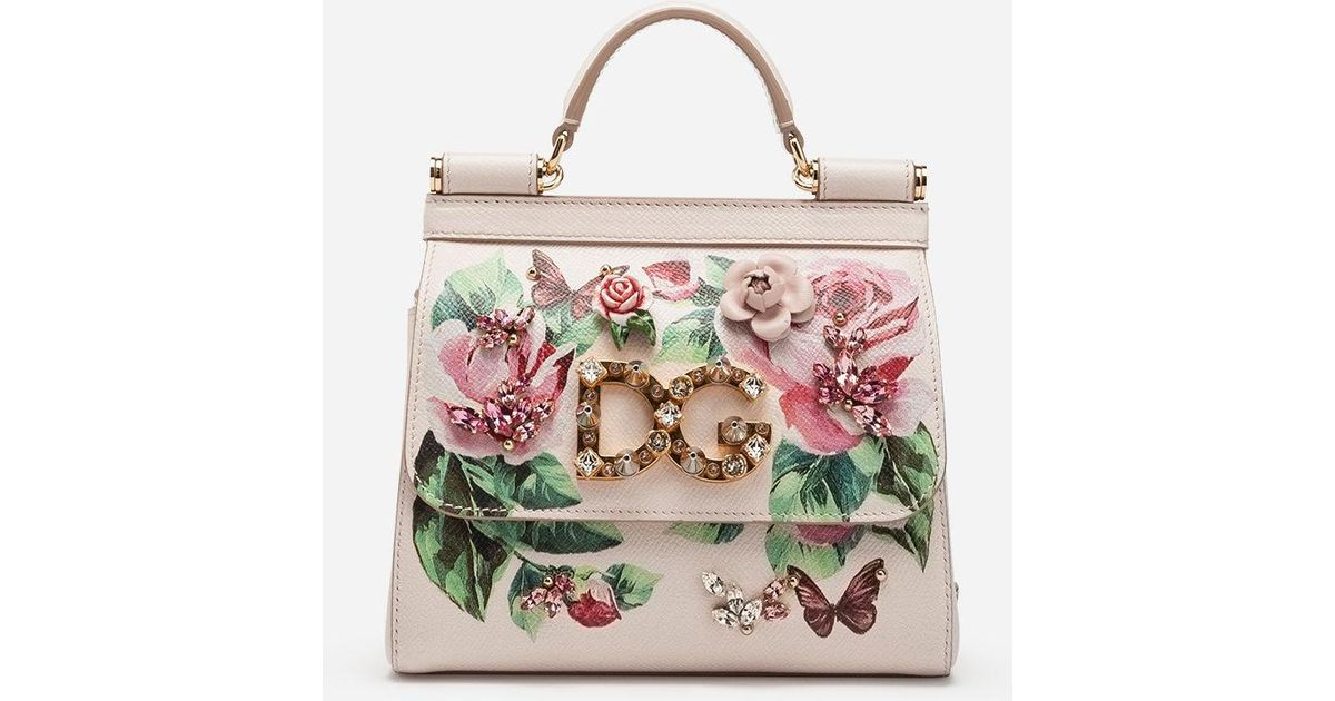 72f1519935 Lyst - Dolce   Gabbana Mini Sicily Bag In Printed Dauphine Calfskin in Pink