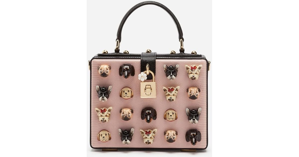 12bf6f8e9250 Lyst - Dolce   Gabbana Dolce Box Bag In Iguana Print Calfskin With Dogs  Embroidery