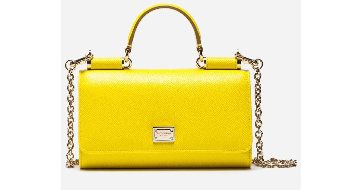 Dolce Gabbana Yellow Dauphine Leather Mini Von Bag