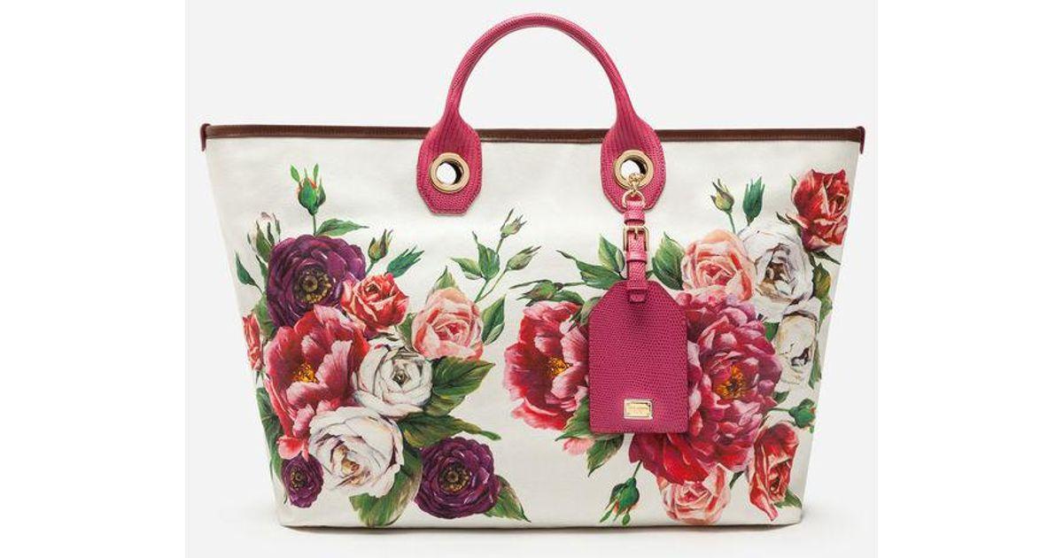 5c1bf3face60 Dolce   Gabbana Medium Capri Shopping Bag In Printed Canvas in Red - Lyst