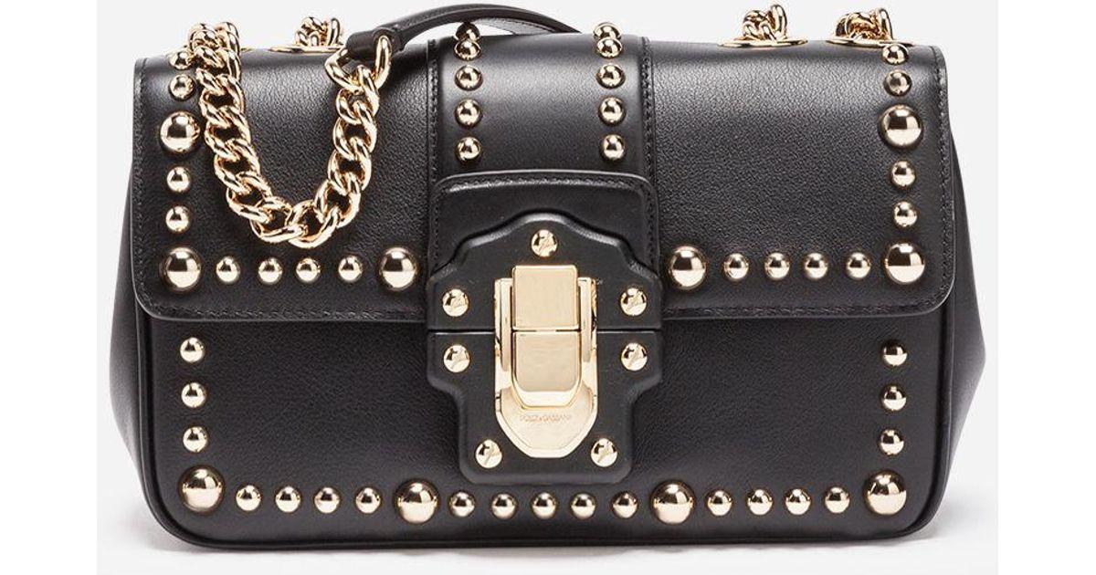 Lyst - Dolce   Gabbana Studded Leather Lucia Shoulder Bag in Black ce1384585bf94