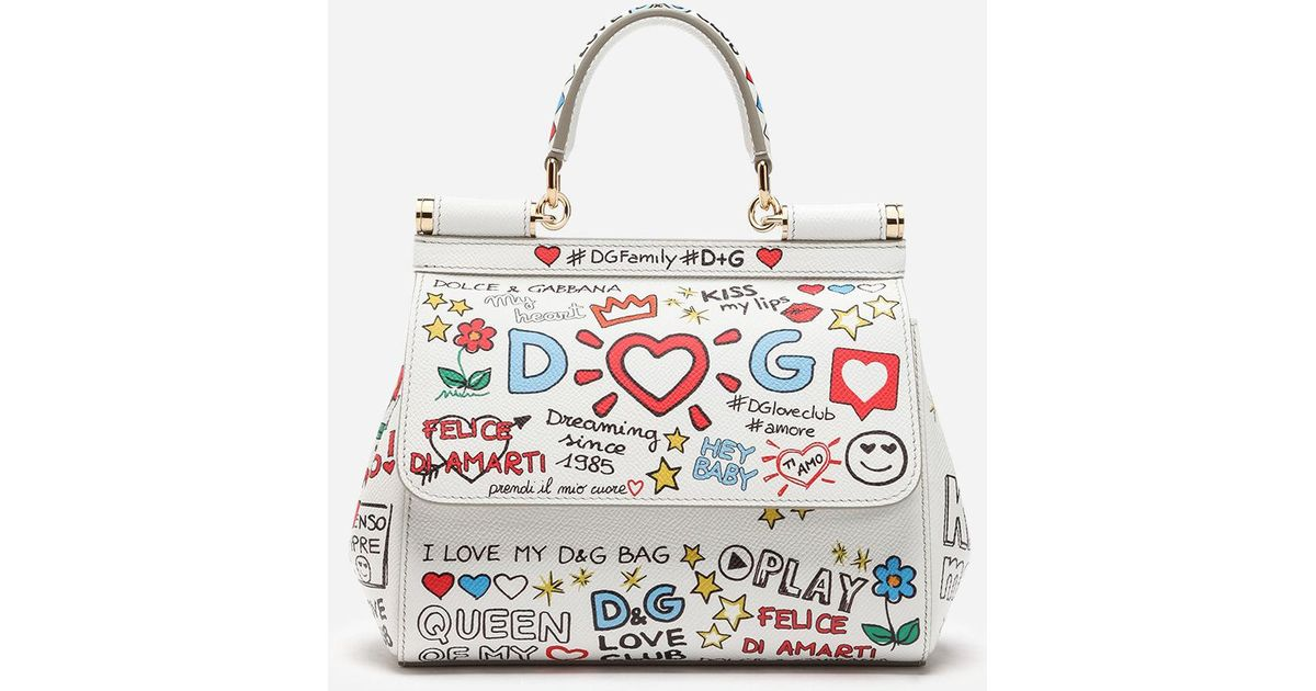 Lyst - Dolce   Gabbana Small Sicily Bag In Printed Dauphine Calfskin in  White 7106c4d135