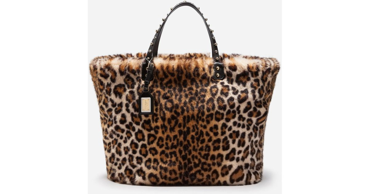 Lyst - Dolce   Gabbana Beatrice Shopping Bag In Leopard Faux Fur in Brown -  Save 53% a6c785bad8852