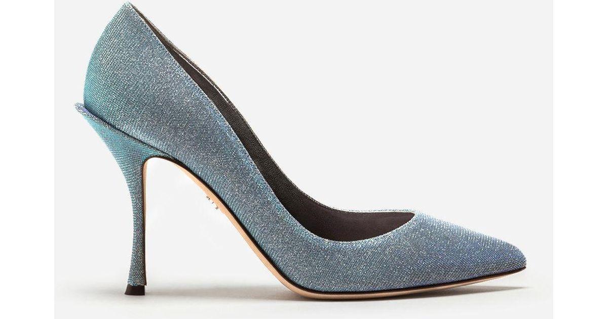 c4ab1bd3e9bd Dolce   Gabbana Lurex Fabric Pumps in Blue - Lyst