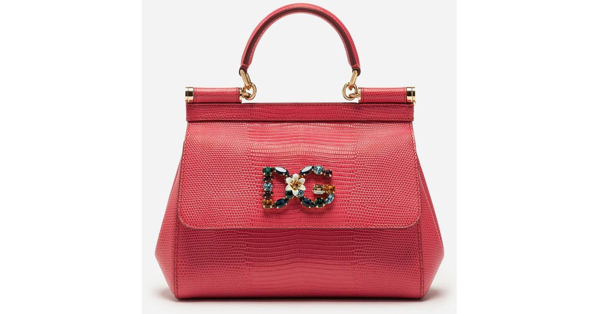 eaa29206bd6b Lyst - Dolce   Gabbana Small Calfskin Sicily Bag With Iguana-print And Dg  Crystal Logo Patch in Pink