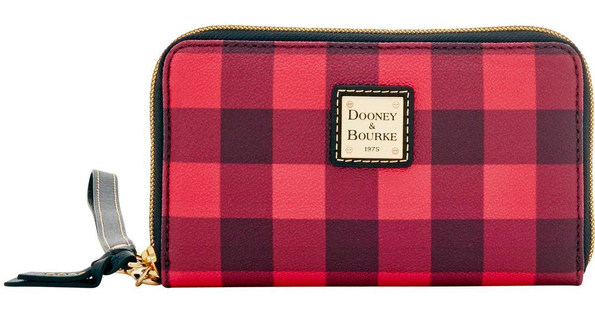 Dooney /& Bourke Tucker Zip Around Phone Wristlet Red