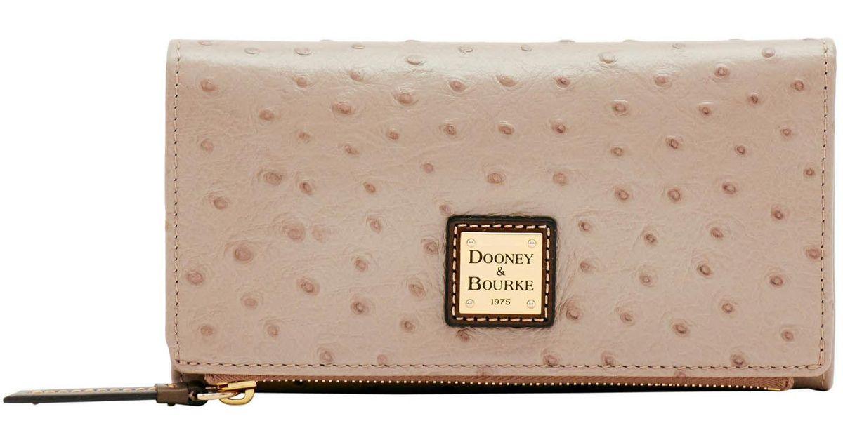 dbaaceb3b227 Lyst - Dooney & Bourke Ostrich Foldover Wallet in Gray