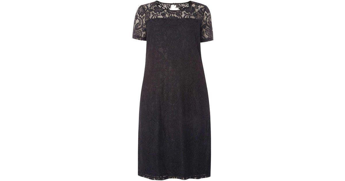 f77348984a87e Dorothy Perkins Dp Curve Black Lace Pencil Dress in Black - Lyst