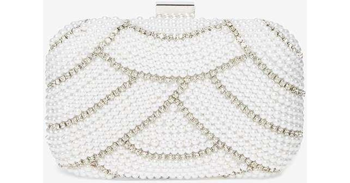 Dorothy Perkins Ivory Pearl Box Clutch Bag in White - Lyst