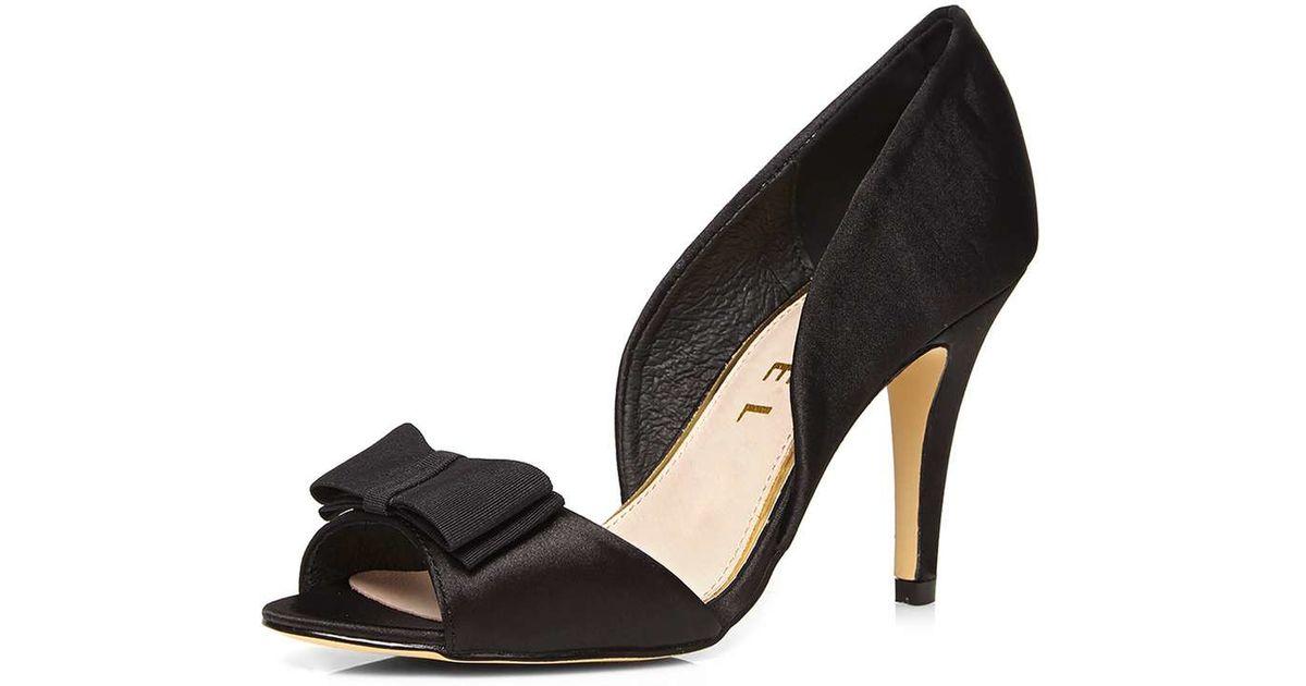 dorothy perkins ravel black peep toe court shoes in black