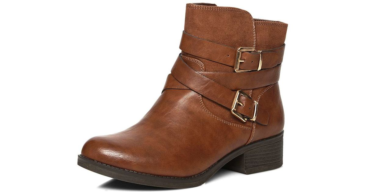 1cf78e52fe23 Dorothy Perkins Wide Fit Tan Wagon Biker Boots in Brown - Lyst