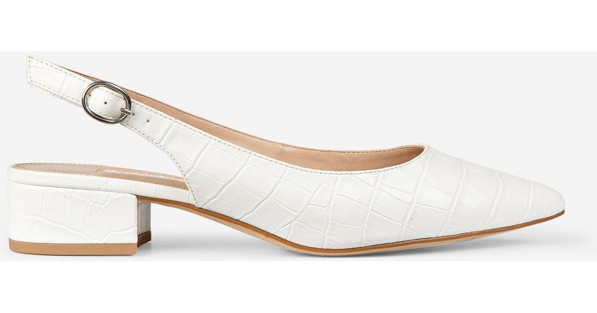 f0dc4d9146 Lyst - Dorothy Perkins White Pu 'daphne' Block Heel Court Shoes in White