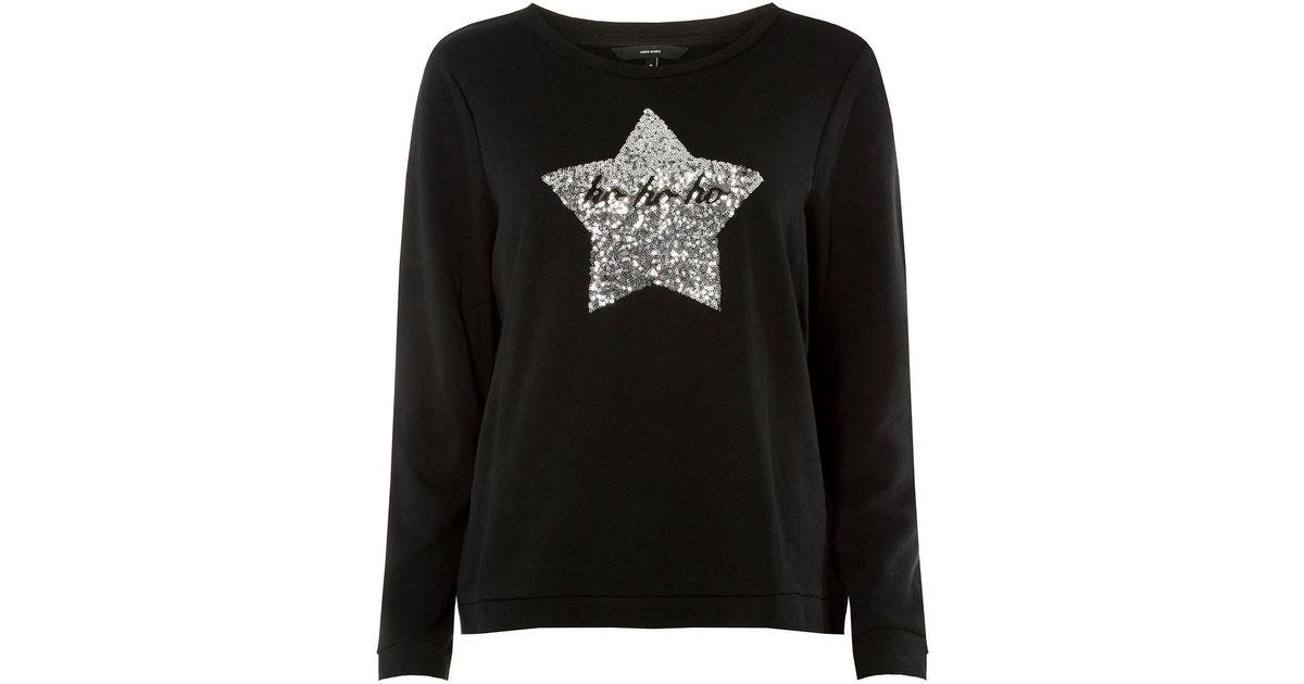 cd387b5892e32f Vero Moda Black Christmas Knitted Jumper in Black - Lyst