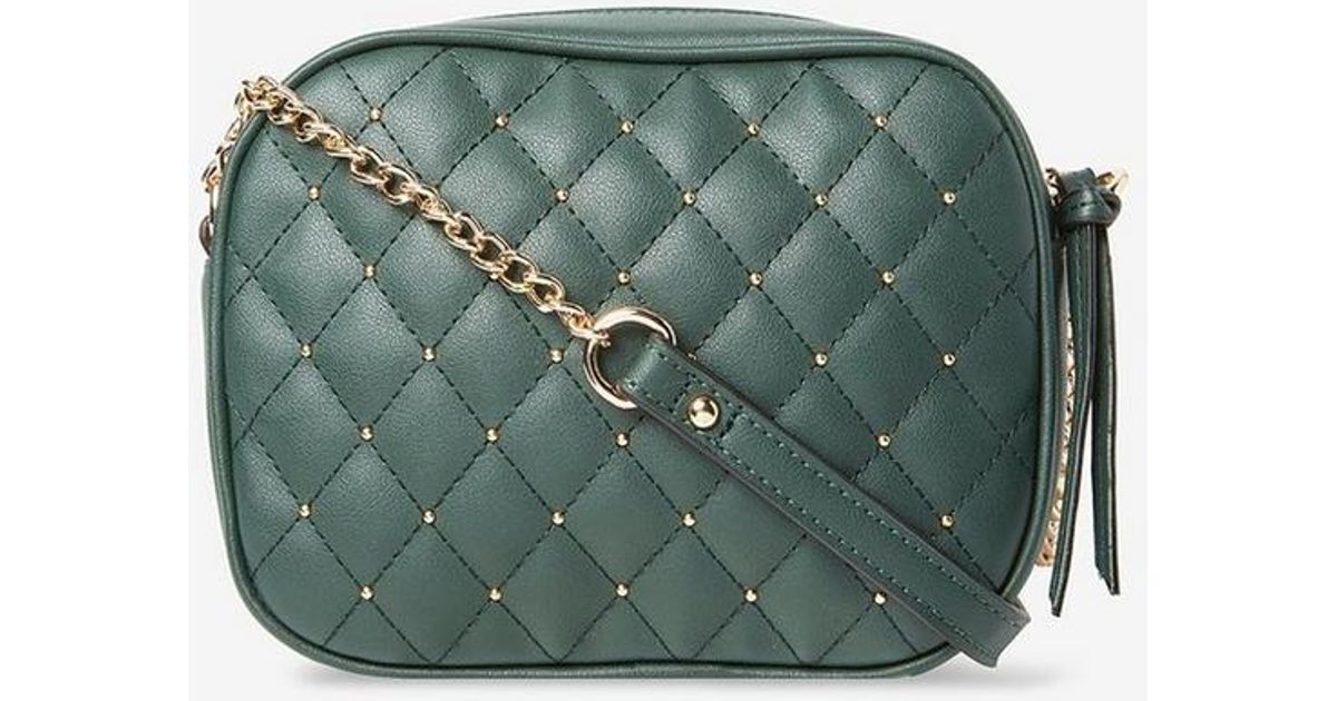 Lyst - Dorothy Perkins Green Pin Stud Quilted Cross Body Bag in Green 3ac9617ac951e