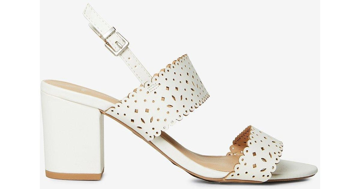 0962018fb5c Dorothy Perkins Wide Fit White  sugar  Heeled Sandals in White - Lyst
