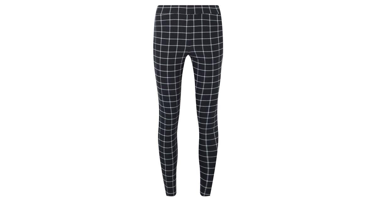 Dark Navy Grid Check Skinny Trousers