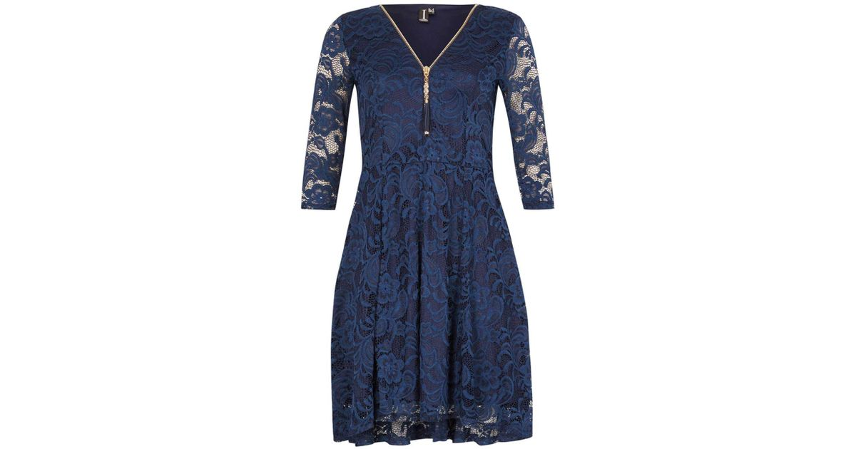 4b0cf1a80130a Dorothy Perkins Izabel London Navy Lace Zip Front Skater Dress in Blue -  Lyst