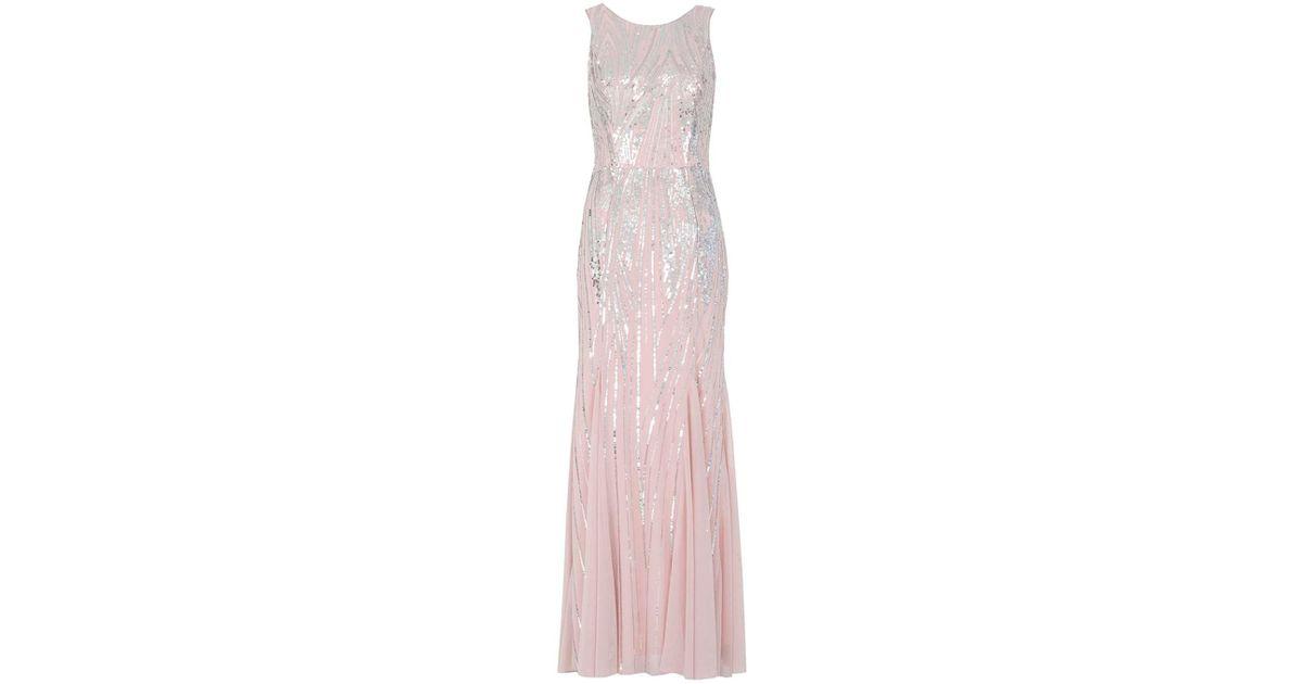 93d4fd60ac Dorothy Perkins Quiz Pink Sequin Fishtail Maxi Dress in Pink - Lyst