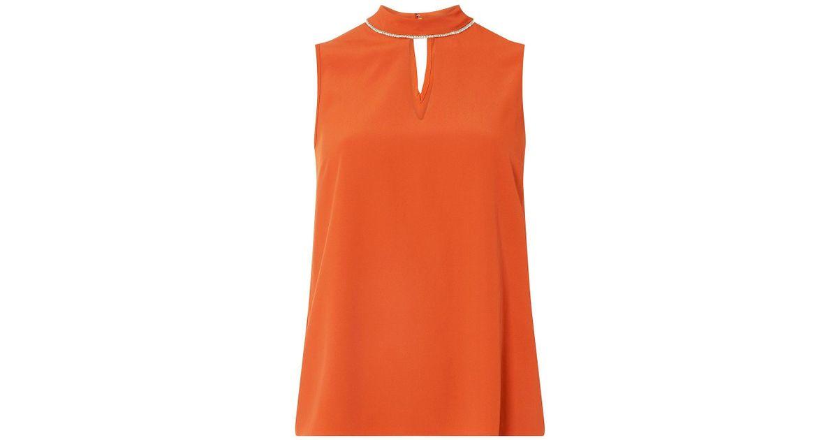 a53c87d424ef00 Dorothy Perkins Terracotta Embellished Top in Orange - Lyst