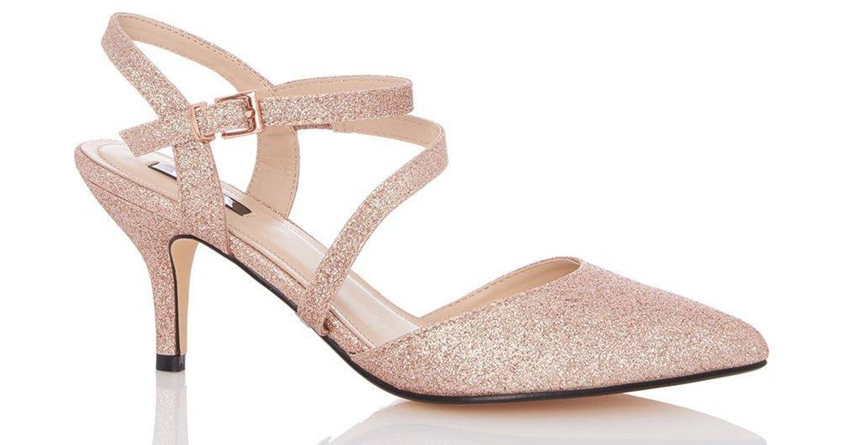 290167e41b8 Dorothy Perkins Quiz Rose Gold Mid Heel Court Shoes in Pink - Lyst