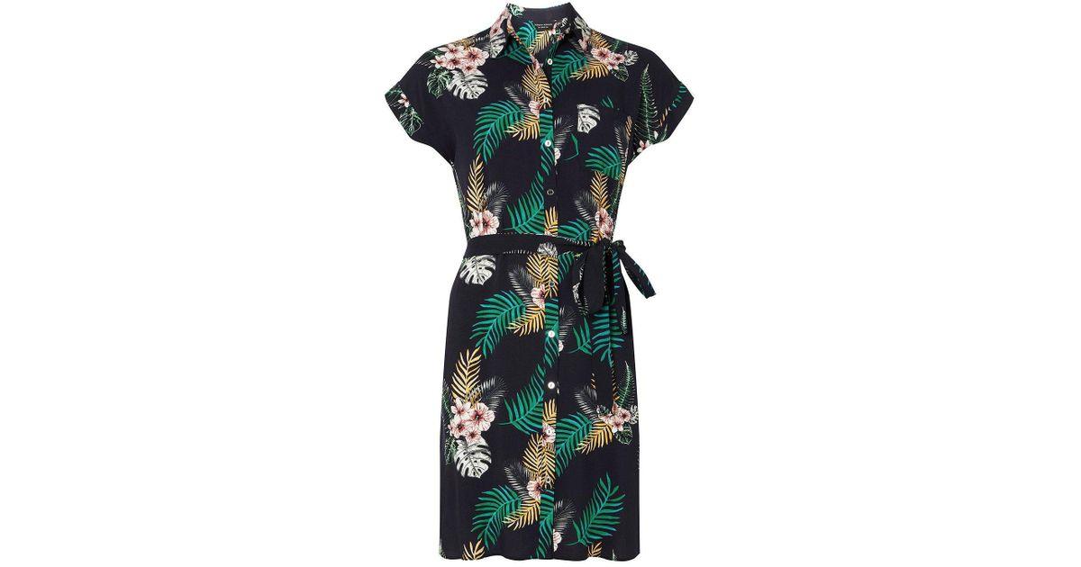 af95a1161d7 Dorothy Perkins Blue Navy Tropical Print Shirt Dress
