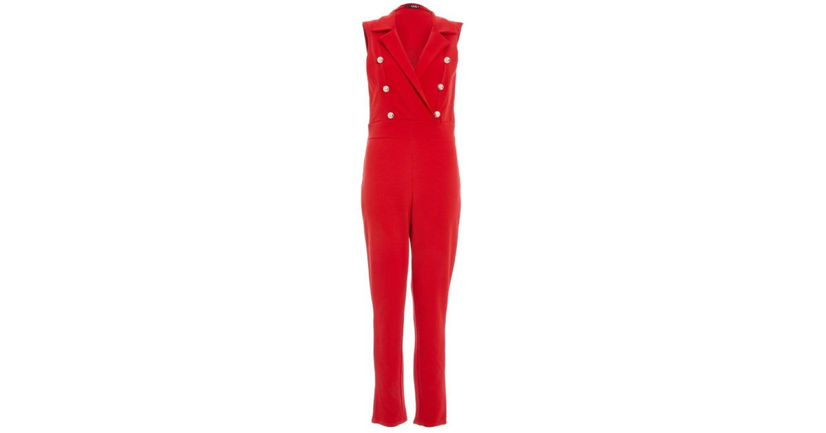 6b00d2f2d000 Lyst - Dorothy Perkins Quiz Red Military Jumpsuit in Red
