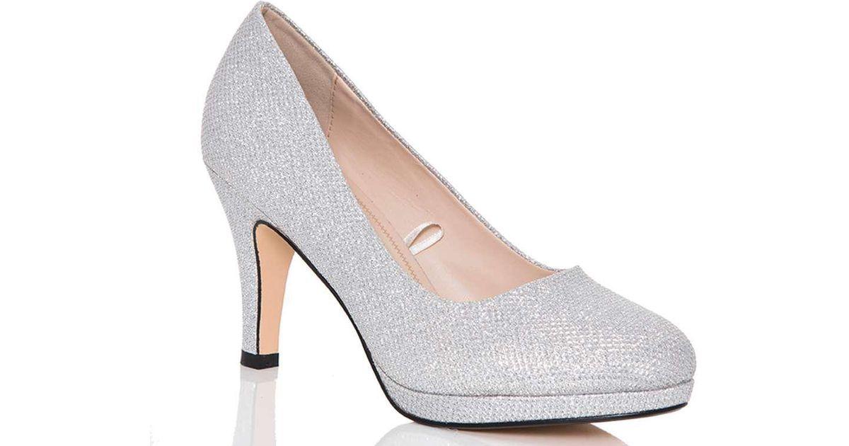 b33c2946f03 Lyst - Dorothy Perkins Quiz Silver Glitter Mid Heel Court Shoes in Metallic