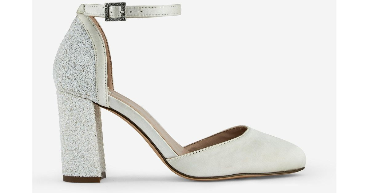 5942dbbb76e2 Dorothy Perkins Wide Fit White 'mimosa' Glitter Block Heel Court Shoes in  White - Lyst
