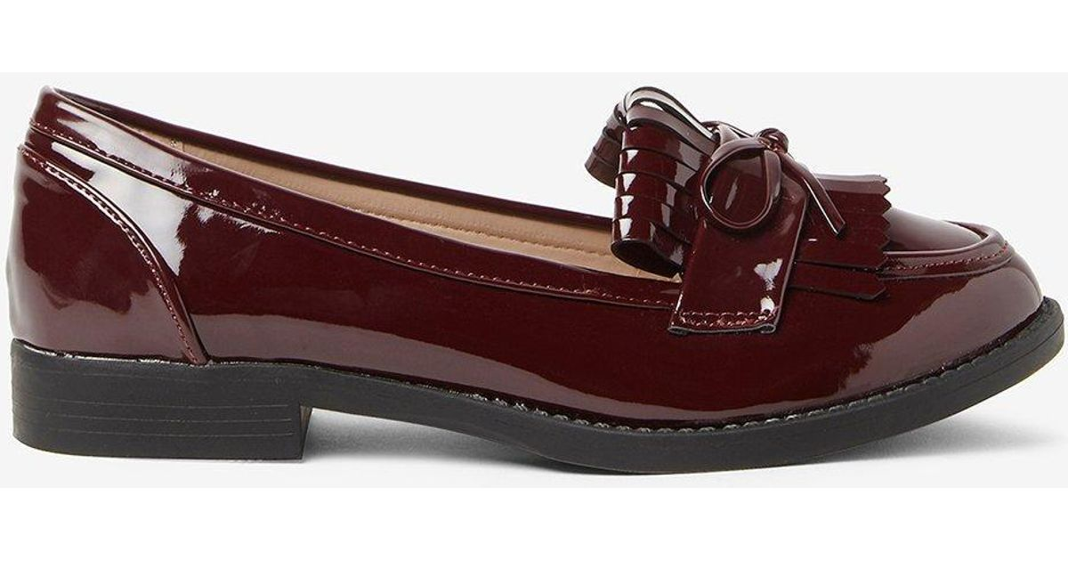 9158fa2d55e Lyst - Dorothy Perkins Burgundy  lotta  Loafers in Red