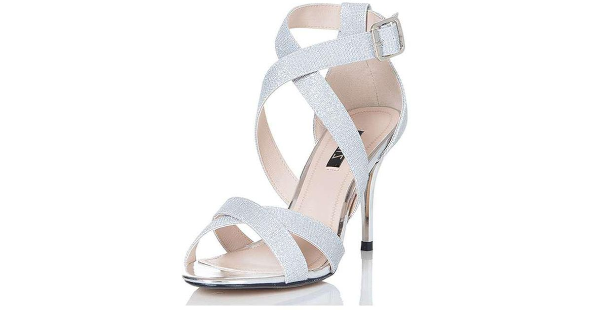26c7f6876edab Dorothy Perkins Quiz Silver Strappy Mid Heel Sandals in Metallic - Lyst