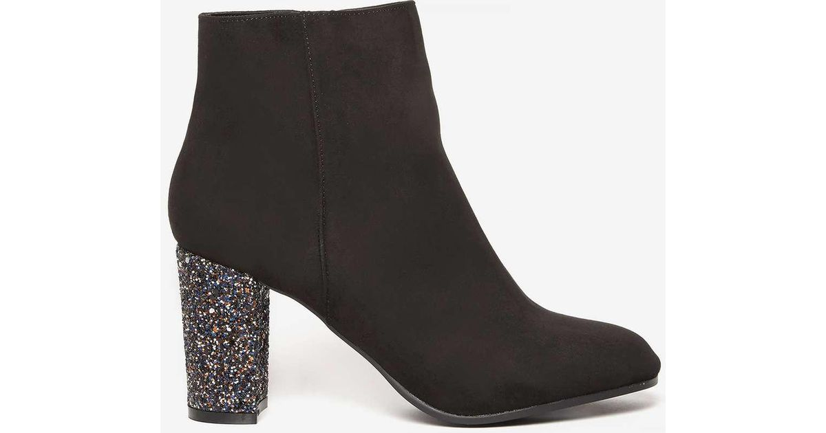 ayla' Glitter Heel Ankle Boots - Lyst