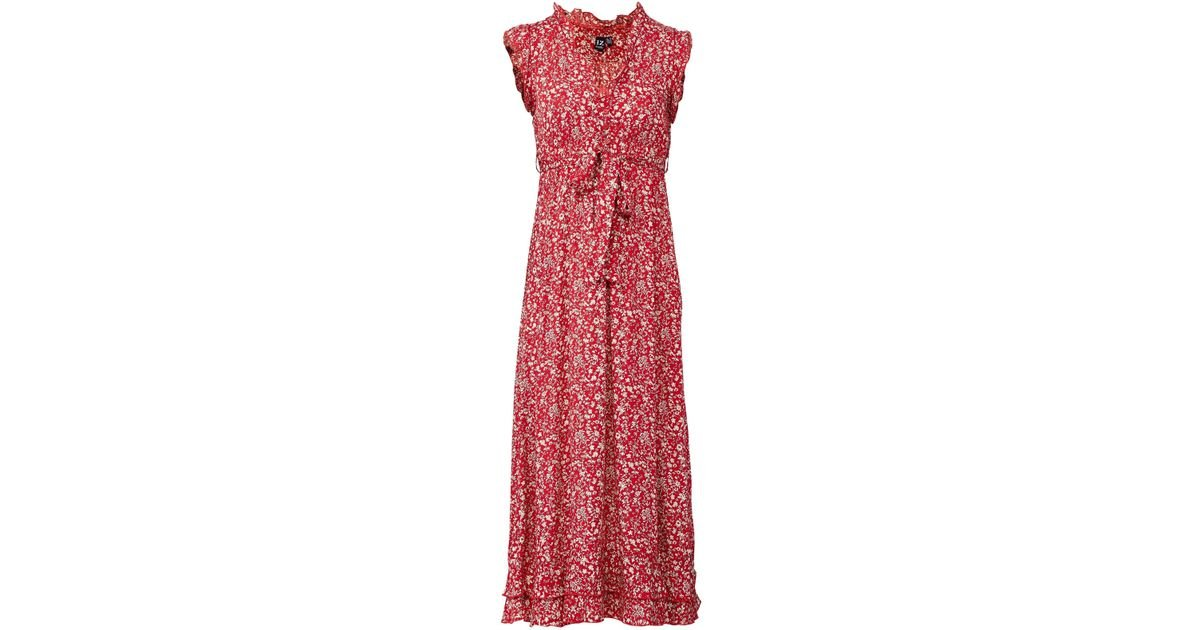 21fc77d766be Lyst - Izabel London Red Tie Waist Ditsy Print Dress in Red