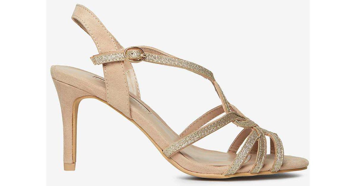 ceee735996 Dorothy Perkins Nude Bounty Glitter Heels Sandals in White - Lyst