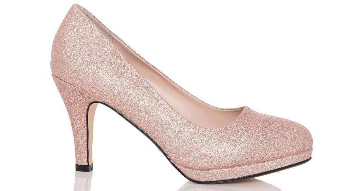91077e128 Lyst - Dorothy Perkins Quiz Rose Gold  rosie  Mid Heel Court Shoes in  Metallic