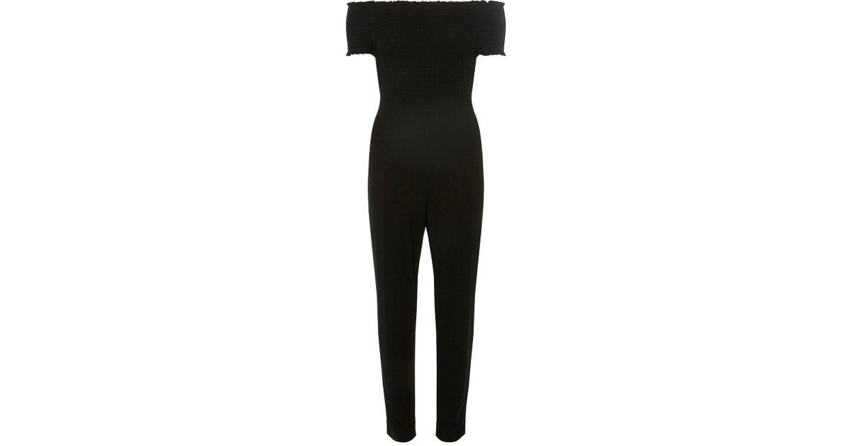 4a7da81428d8 Lyst - Dorothy Perkins Black Shirred Bardot Jersey Jumpsuit in Black