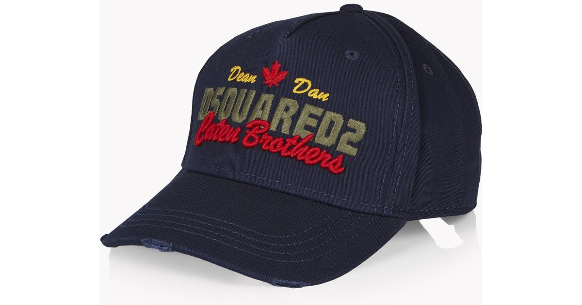 34f3a025b49ed4 DSquared² Caten Brothers Baseball Cap in Blue for Men - Lyst