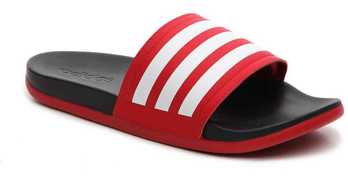 adidas cloudfoam slides red