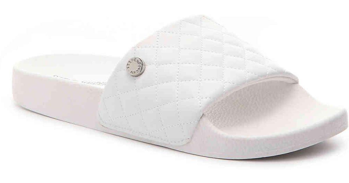 c0aac3711b7 Steve Madden White Qool Slide Sandal