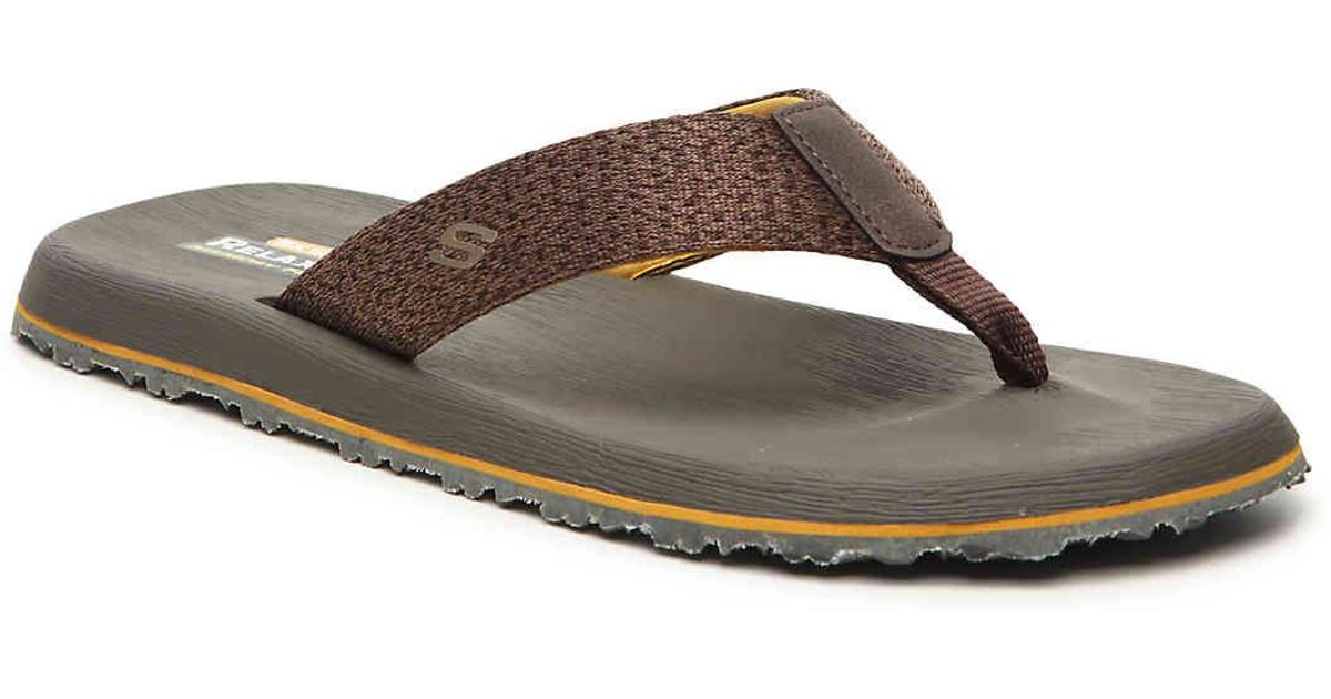 b6711908cae6 Lyst - Skechers Relaxed Fit Tantric Ravel Flip Flop in Brown for Men
