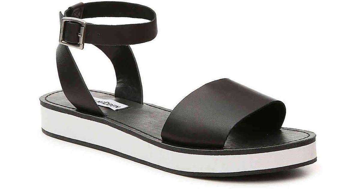 steve madden black and white sandals