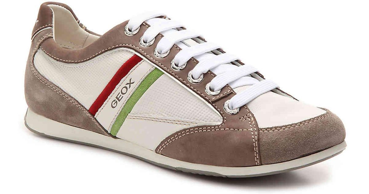 cálmese fractura Evaluación  Geox Leather Andrea Sneaker in White/Taupe (White) for Men - Lyst