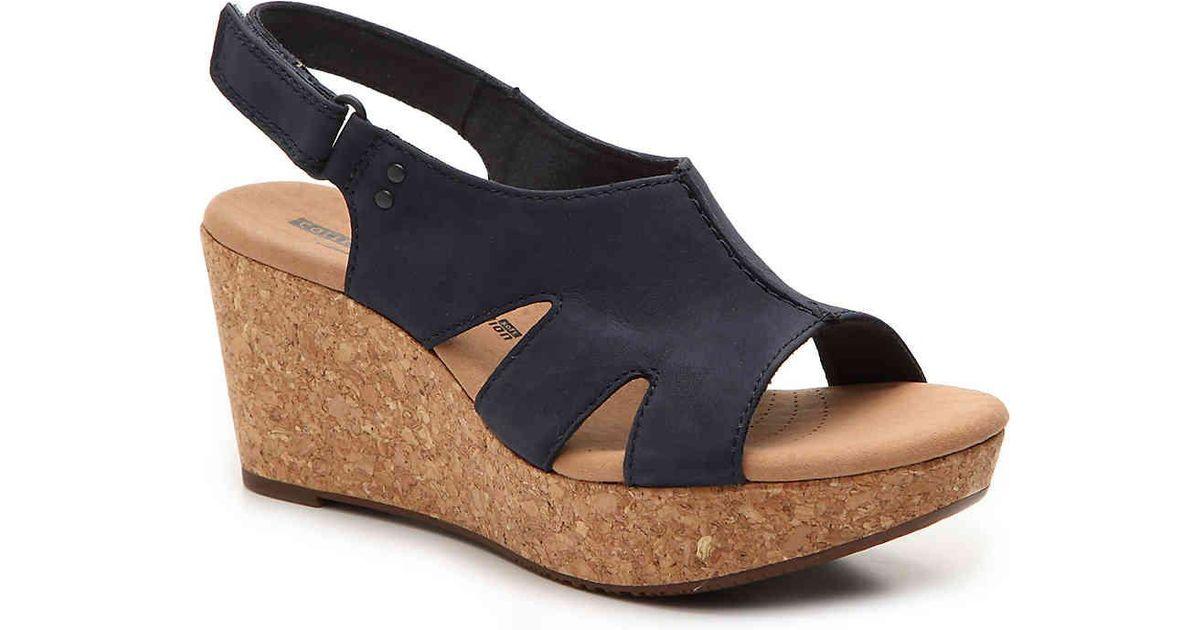 6bf0b59301ee Lyst - Clarks Annadel Bari Wedge Sandal in Blue