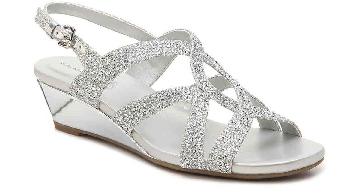 Giove Wedge Sandal in Silver Metallic