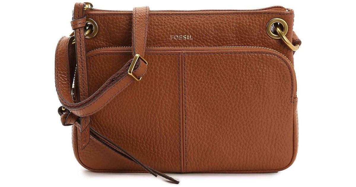 Fossil Brown Karli Leather Crossbody Bag