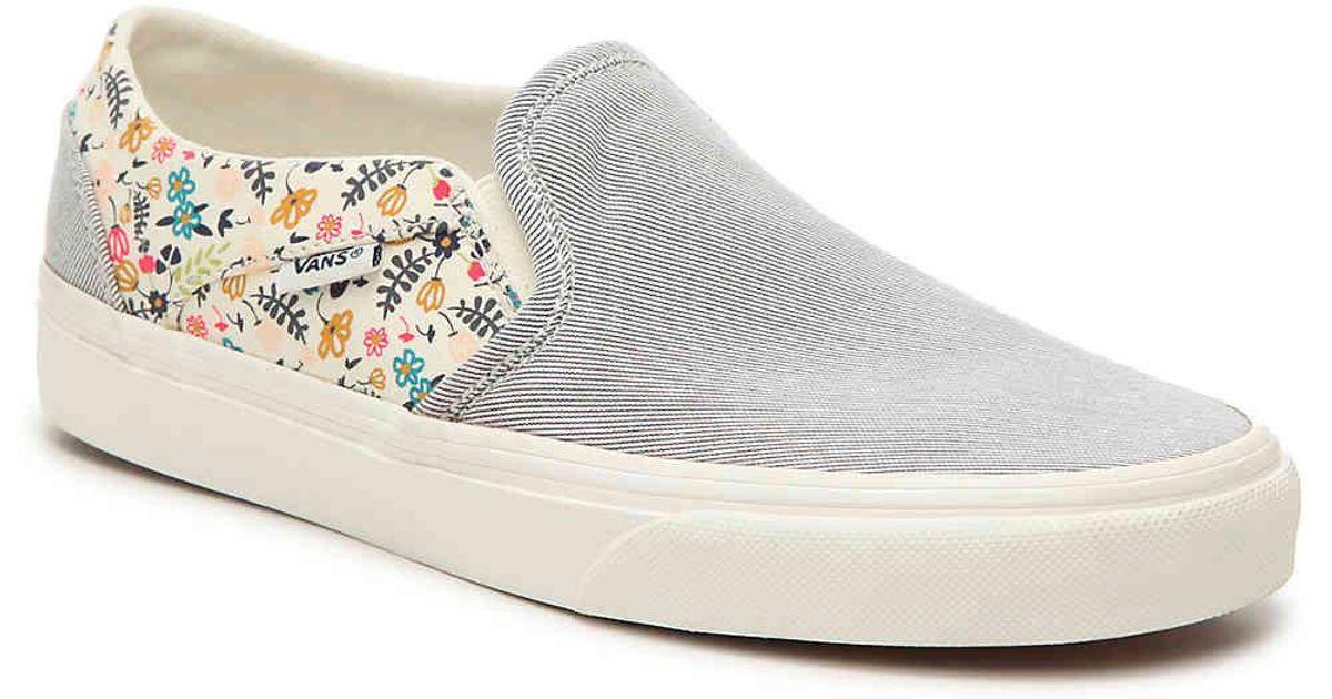 15d7e9bb663 Lyst - Vans Asher Stripe Floral Slip-on Sneaker