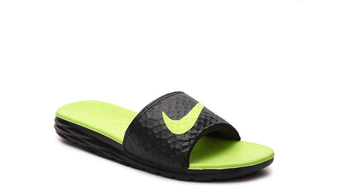 ganador cinta Cristo  Nike Synthetic Benassi Solarsoft 2 Slide Sandal in Black/Neon Green (Green)  for Men - Lyst