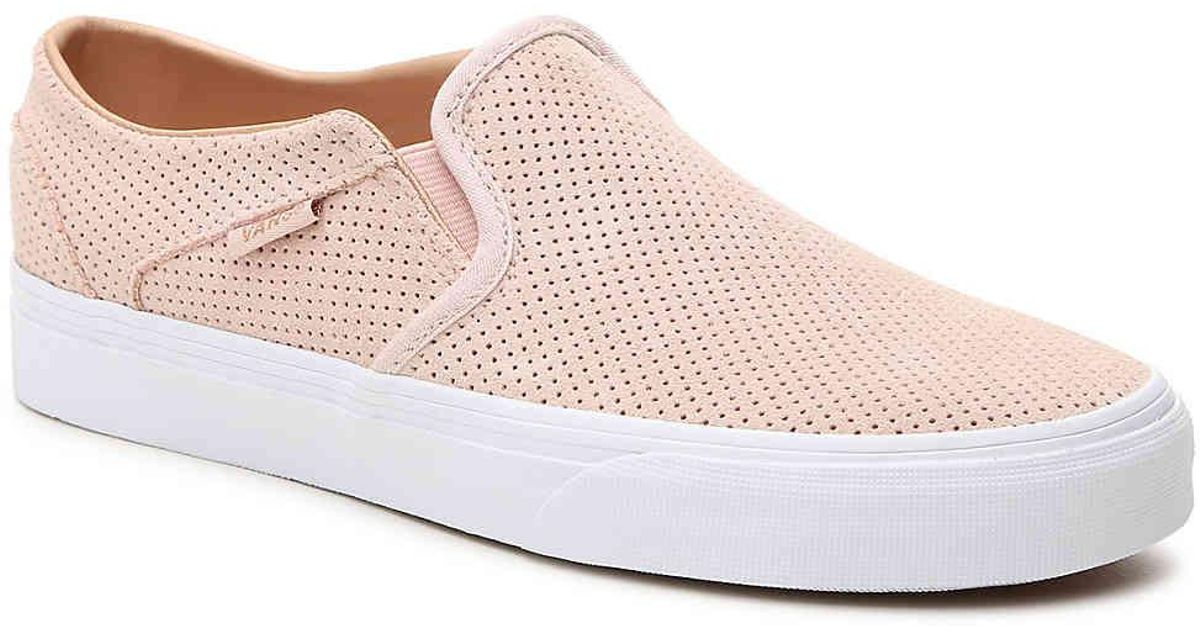 3539af0ad2a Lyst - Vans Asher Perforated Slip-on Sneaker in Pink