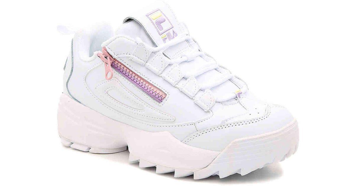 Fila Leather Disruptor 3 Zip Sneaker in