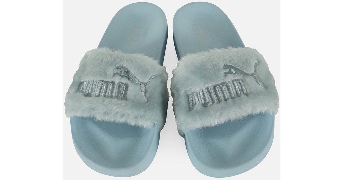 cheap for discount 6662b d3461 PUMA X Rihanna Fenty Fur Slide-cool Blue